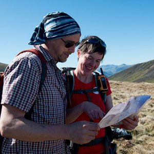 Emma teaching navigation in the Lake District