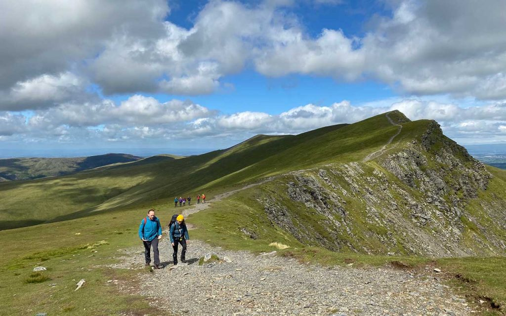 Group walking in Blencathra during a Mind Over Mountains event